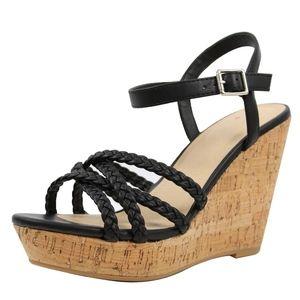Black Open toe braided straps cork platform wedge